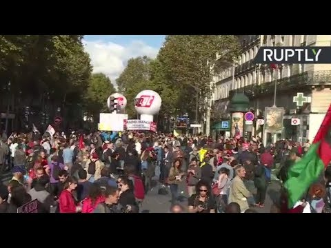Clashes as unions protest against Macron's labor and tax reforms in Paris (STREAMED LIVE)