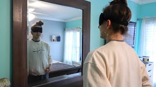 blindfolded room tour