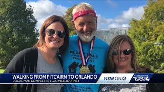 A 1,300-mile journey: Pitcairn man walks to Orlando in honor of late mother
