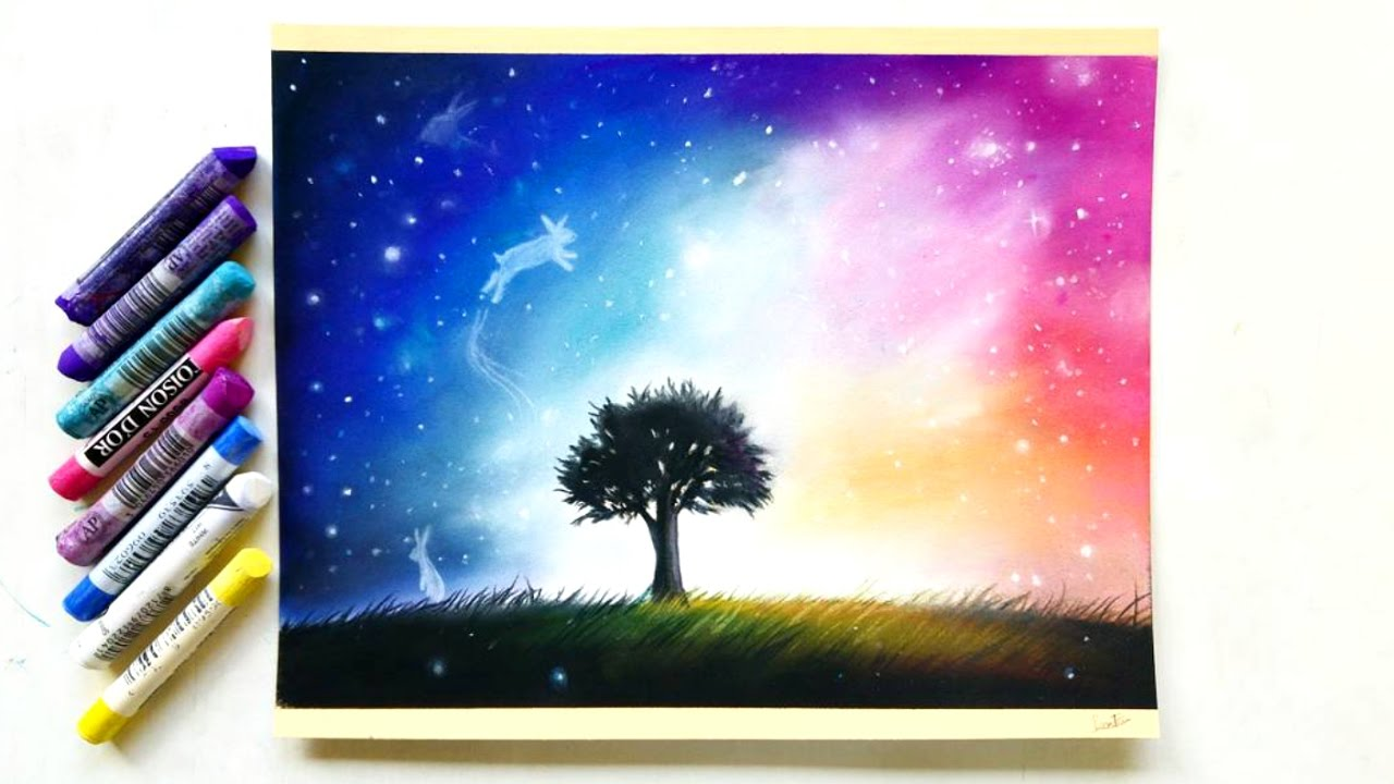 Surrealistic Galaxy Drawing With Pastel Pencils And Soft