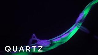 A robot eel that glows in the ocean
