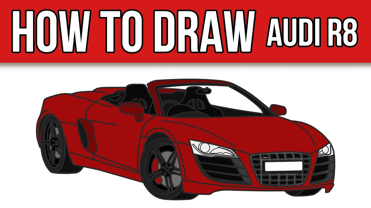 how to draw audi r8 spyder step by step youtube. Black Bedroom Furniture Sets. Home Design Ideas