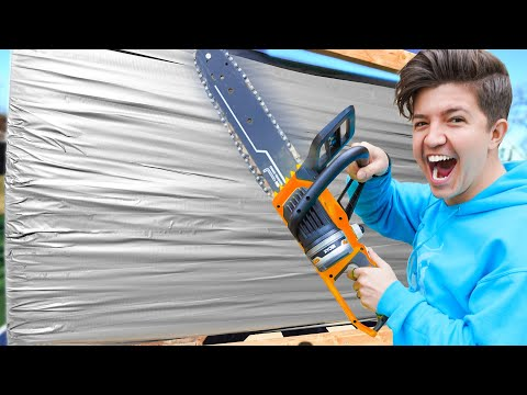 100 Layers of Duct Tape vs Cardboard! - Challenge