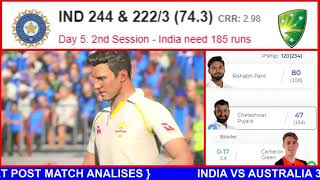 LIVE IND VS AUS 3RD TEST MATCH 5TH DAY SCORE AND LIVE  COMMENTARY SIDANI TEST