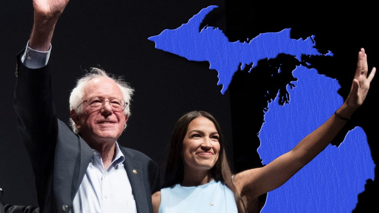 (49) Bernie Sanders & AOC Rally 2 Days Before Michigan Primary--Jenn LIVE From Ann Arbor Michigan -
