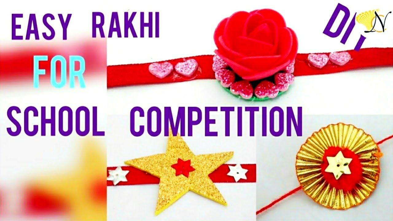 DIY 3 super easy Rakhi making for kids school competition with foam sheet,  gota & pompom (HD video)
