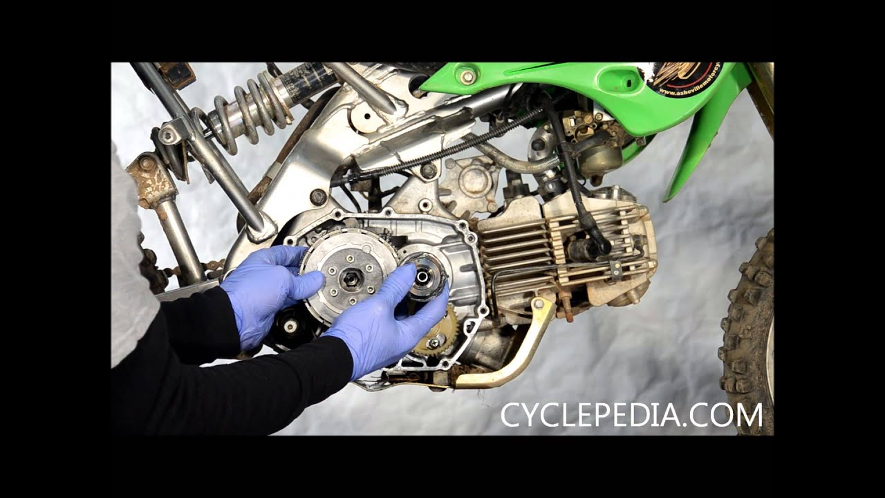 Cyclepedia com Kawasaki KLX110 Clutch Cover Install External Shift  Mechanism Alignment