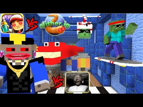 Monster School : SLITHER.iO VS SUBWAY SURFERS GRANNY CHALLENGE - Minecraft Animation