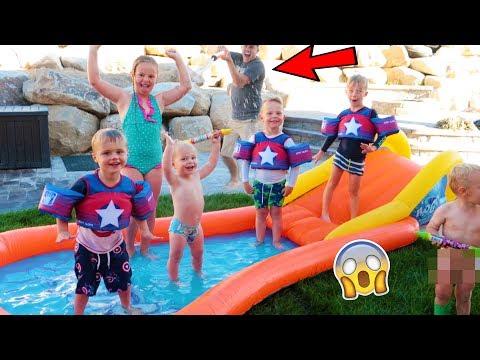 BACKYARD WATER PARK SLIP N SLIDE PARTY!