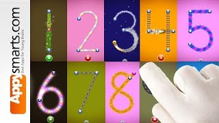 Counting and Tracing Numbers from 1 to 10 with Letter School app for kids