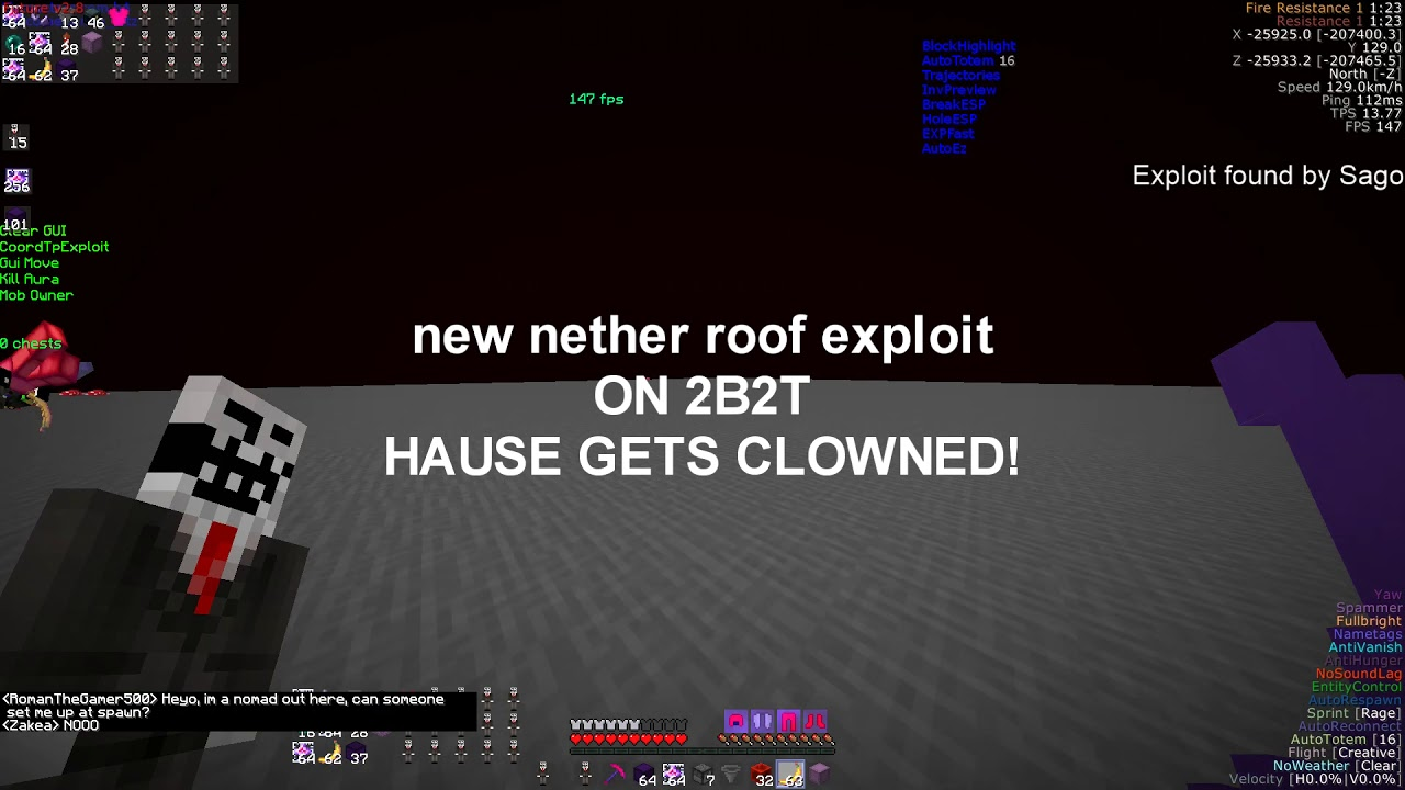 New 2b2t Nether Roof Exploit Found Hausemaster Clowned Youtube