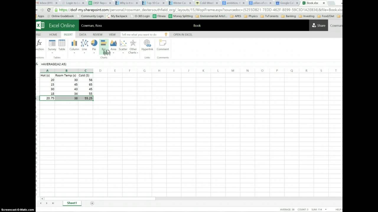 how to make a bar  column  graph on excel in onedrive