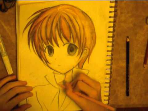 Drawing anime boy using watercolor pencils part 2