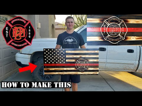 HOW TO MAKE A CUSTOM THIN RED LINE WOODEN FLAG | STEP BY STEP