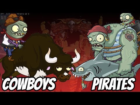 Wild West Zombies vs Pirate Seas Zombies | Plants vs Zombies 2 Epic MOD