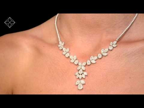 D3498 - Diamond Necklace - Pyrus - 8.5CT of H/Si Diamonds in 18K White Gold