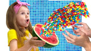 Eva pretend play and prepares sweets a colored surprise for mom
