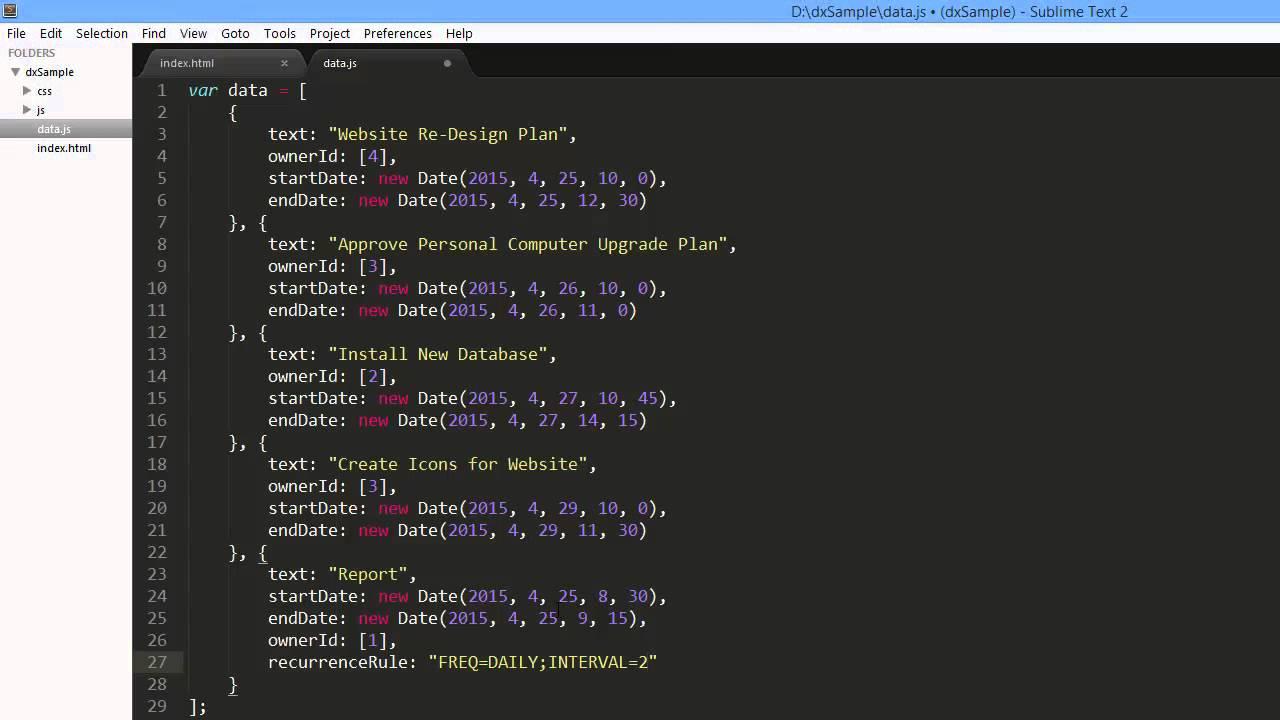 DevExpress DevExtreme: dxScheduler Recurrent Appointments