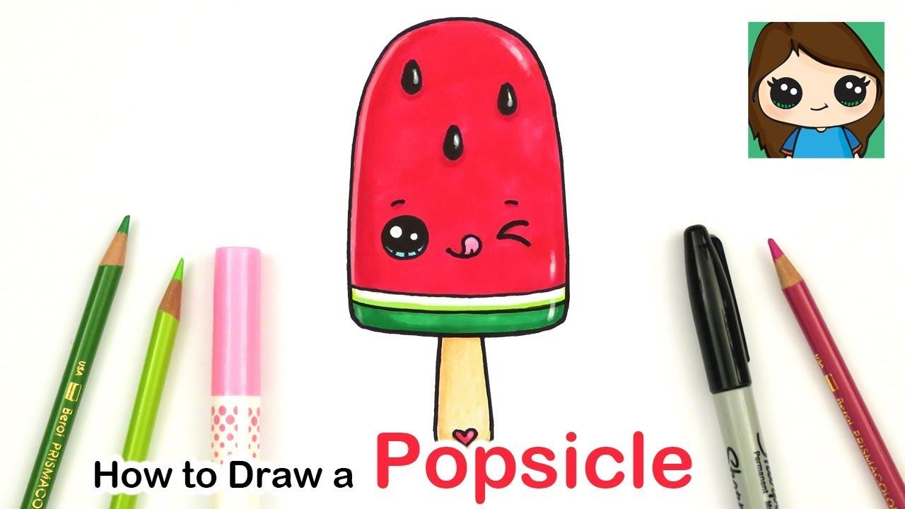 How To Draw A Watermelon Popsicle Easy Summer Art Series 4 Youtube