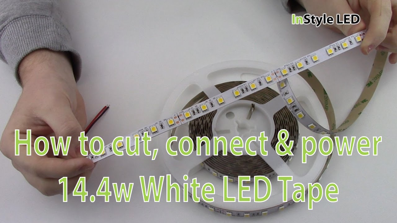 LED Strip Lights - How to cut, connect & power 14.4w White LED Tape ...