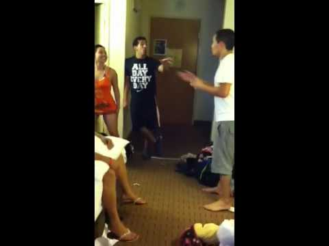 man head Asian girl kicks to