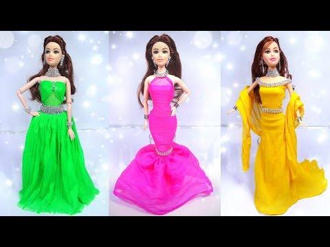 3 Easy Barbie doll prom dresses | Miniature barbie accessories you can DIY | Miniature prom dress