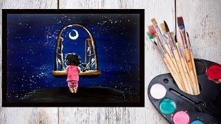 Картина за 10 минут! Видео урок Рисуем гуашью Ночное небо и малыш #Dari Art(В этот раз предлагаю нарисовать интересную, фантазийную композицию! Была просьба нарисовать звездное небо,..., 2015-03-12T09:07:47.000Z)