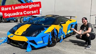 UNWRAPPING RARE LAMBORGHINI SQUADRA CORSE TO REVEAL ORIGINAL COLOR... *1 of 50 WORLDWIDE*