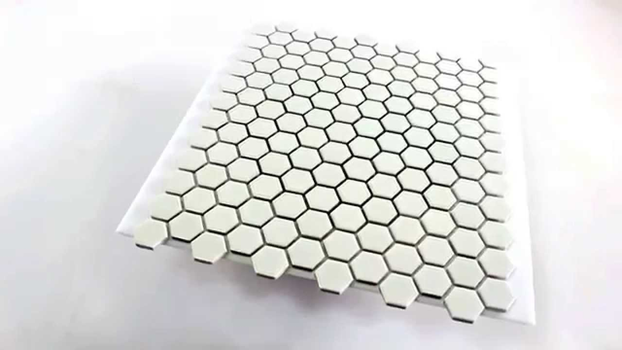 hexagon keramik mosaik fliesen weiss gl nzend youtube. Black Bedroom Furniture Sets. Home Design Ideas
