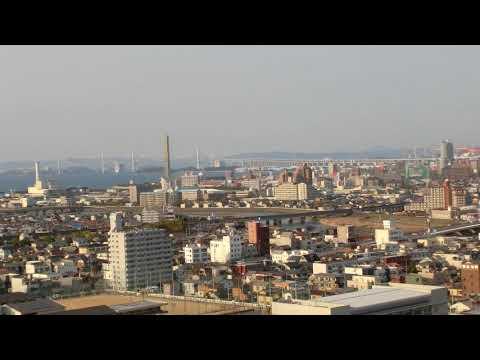 Viwed from Marugame  Castle (East to North)  from Mt. Iinoyama to Seto Grand Bridge  丸亀城から東、瀬戸大橋まで