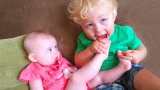 Fun and Fails Baby Siblings Playing Together