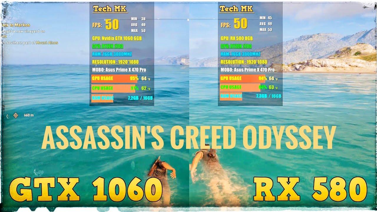 RX 580 vs GTX 1060   Assassins Creed Odyssey   High Settings   Tech MK