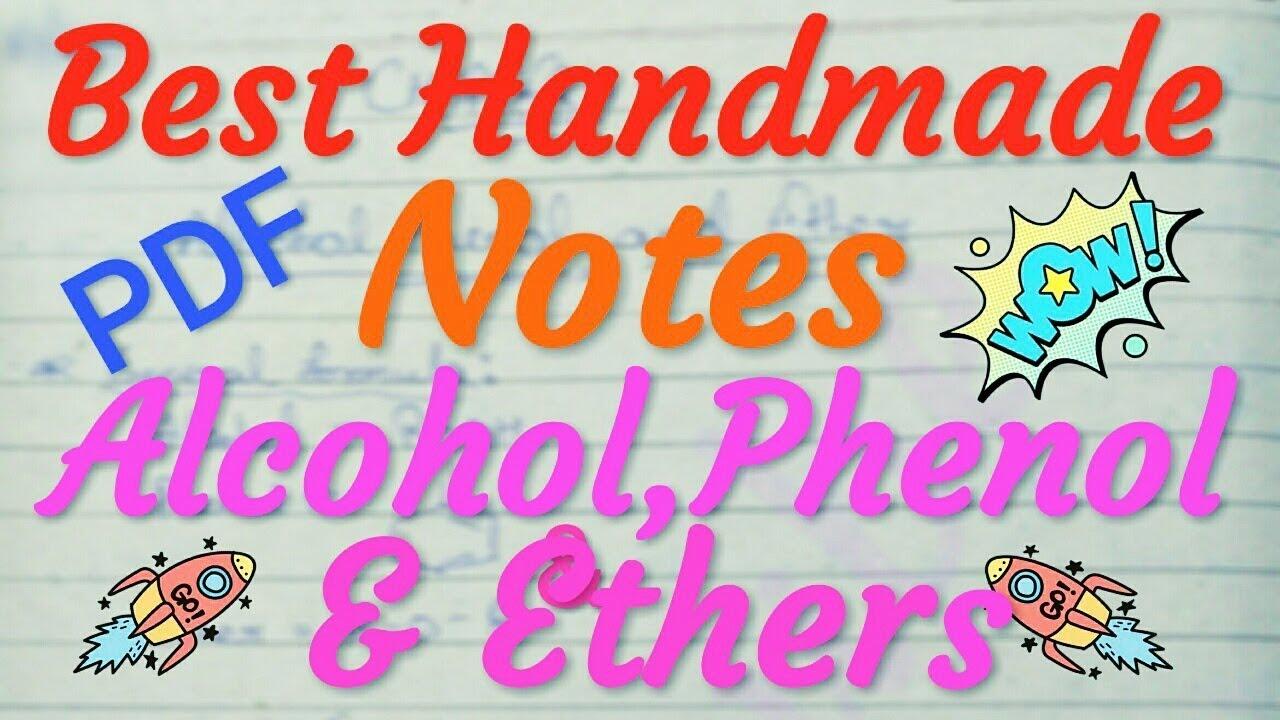 Chemistry Class 12 Unit 11 | Alcohols Phenols & Ethers | Organic Chemistry  Handmade Notes