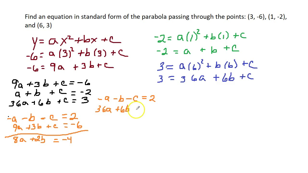 Write the equation of a parabola in standard form given 3 po youtube write the equation of a parabola in standard form given 3 po falaconquin