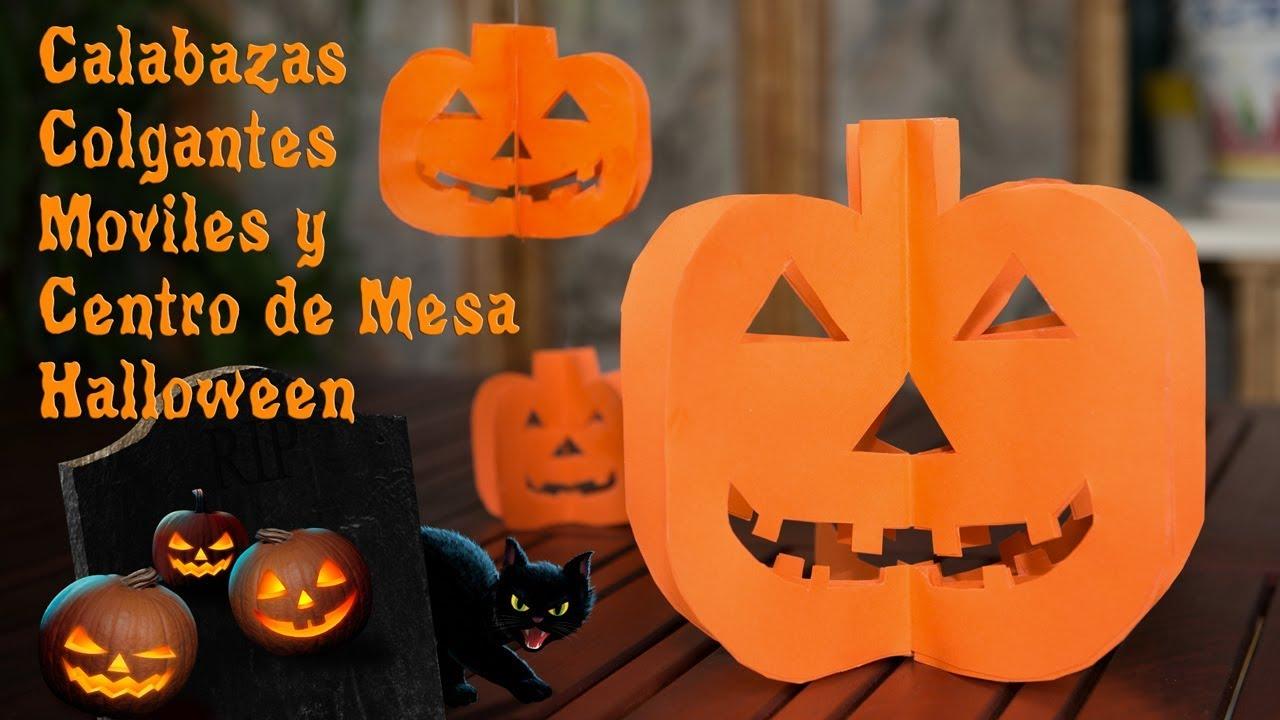 Calabazas Colgantes Moviles y Centro de Mesa Halloween - YouTube
