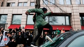 Protestors clash with police, vandalize property following Trump's inauguration