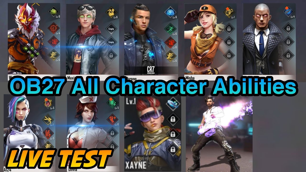 Download Free Fire OB27 All Characters Skills and Abilities Change Test