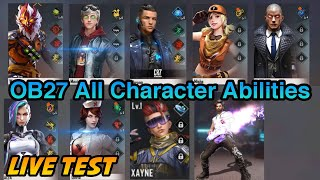 Free Fire OB27 All Characters Skills and Abilities Change Test