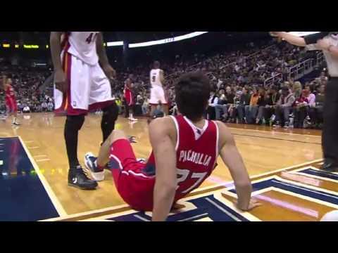 Zaza Pachulia trips Udonis Haslem - Miami Heat vs Atlanta Hawks - 09/11/2012