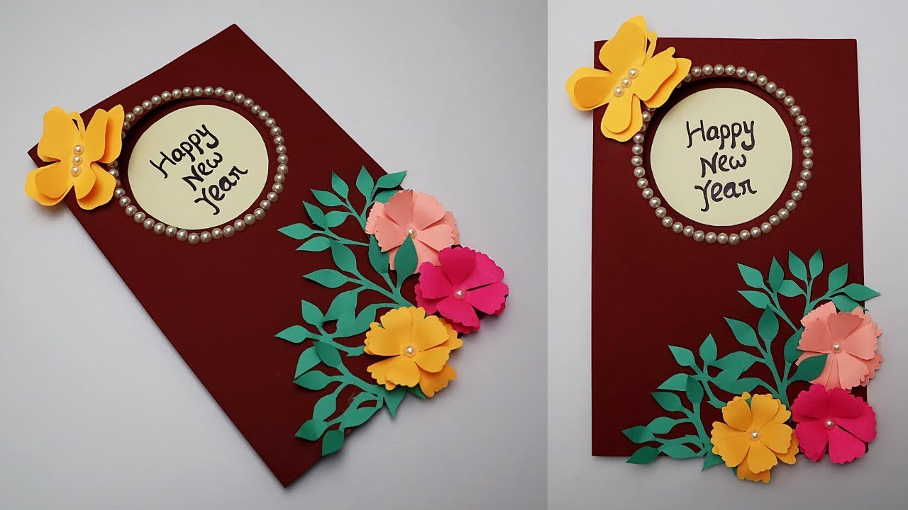 diy new year card 2019 how to make greeting card for happy new year handmade cards idea
