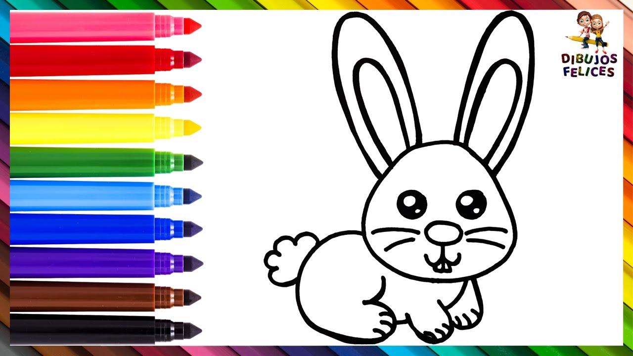 Cómo Dibujar Un Conejo 🐰 Dibuja y Colorea Un Lindo Conejito Arcoiris 🐇🌈 Dibujos Para Niños