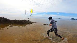 台風の後、濁った海に現れる謎の大物を狙った結果…ドラグ出まくり!【打ち込み釣り】