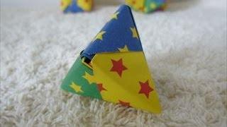 【ハンドメイド】折り紙「三角形の六面体・両三角錐」折り方・作り方 How to make hexahedral triangle