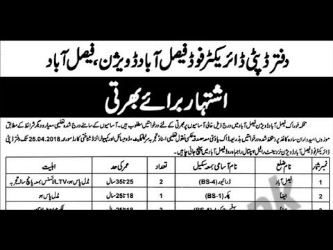 Food Department Faisalabad Jobs 2018 for 70+ Security & Support Staff