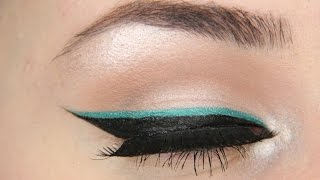 Winged eyeliner w/ teal makeup tutorial!