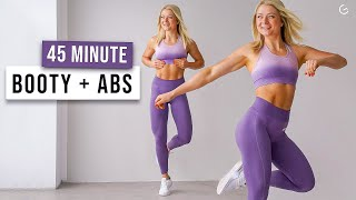 45 MIN KILLER BOOTY & ABS Workout - No Repeat, No Equipment, Strong Core & Glute Activation