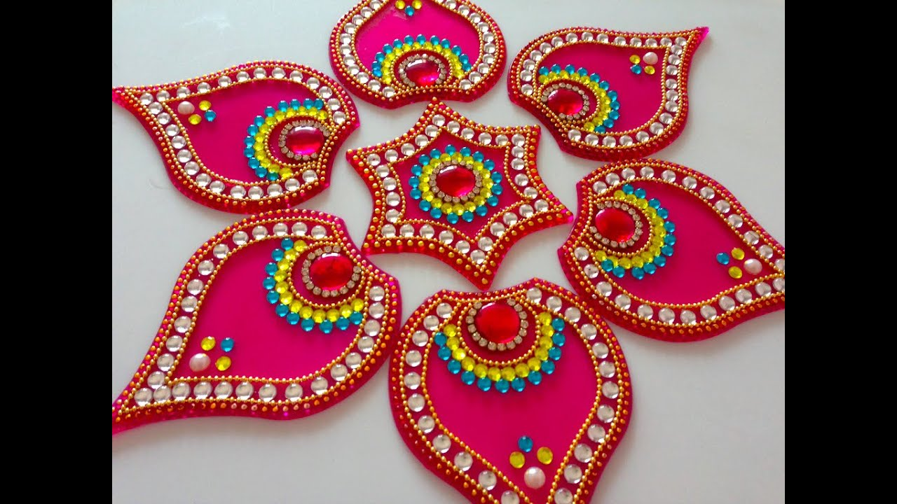 How to make acrylic rangoli diy kundan rangoli beads for Home made rangoli designs