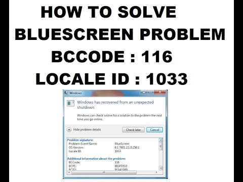 How to solve Bluescreen problem BCCode : 116  Locale ID : 1033 | Tech Tips & Tricks