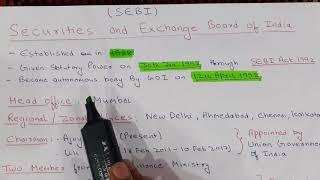 SEBI (SECURITIES AND EXCHANGE BOARD OF INDIA)