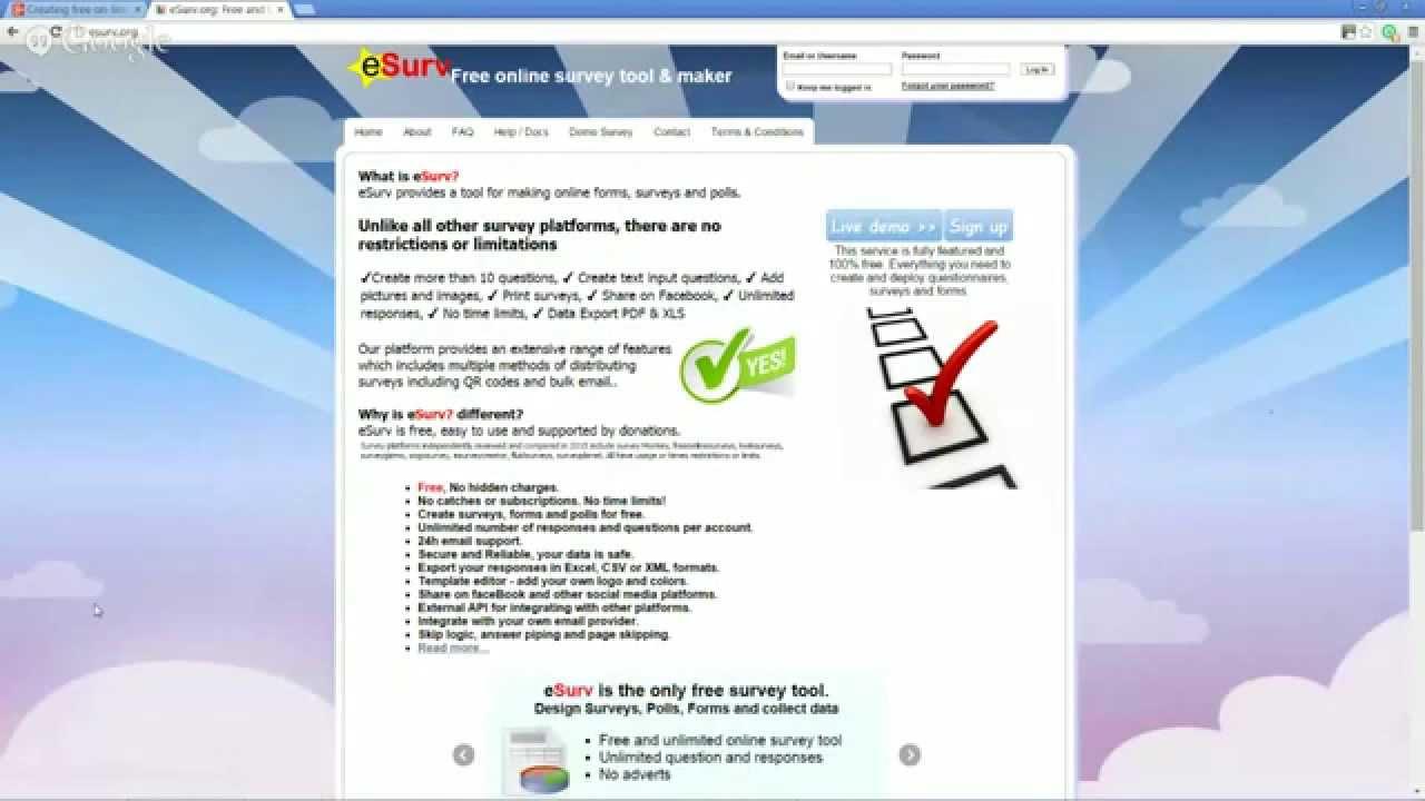creating free on line surveys with esurv org youtube